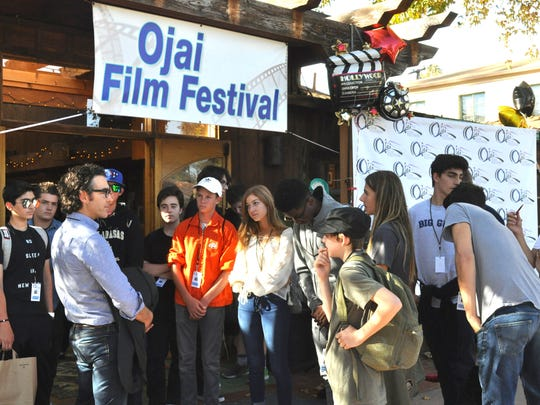 A group of students attend the student filmmakers day at a past Ojai Film Festival. This year, students from Camarillo, Port Hueneme and Calabasas high schools will attend the event.