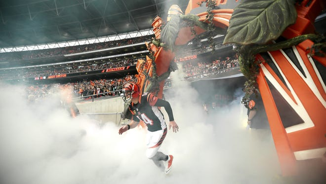 Cincinnati Bengals quarterback Andy Dalton (14) takes the field as he's introduced prior to the first quarter of the NFL Week 8 International Series game between Washington and the Cincinnati Benals at Wembley Stadium in London on Sunday, Oct. 30, 2016. At the end of the first half, the Bengals trailed 10-7.