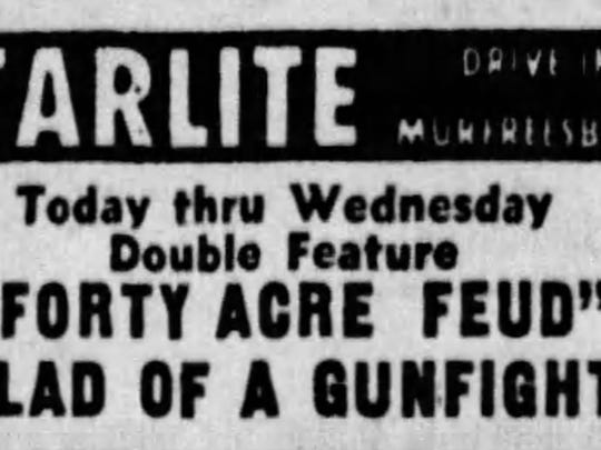 "An advertisement for the film ""Forty Acre Feud"" in the May 1, 1966 Tennessean"