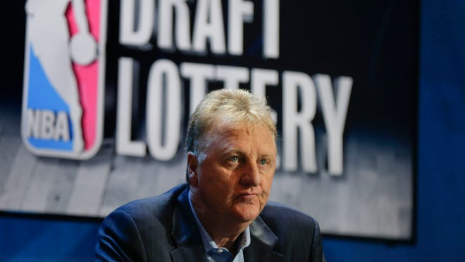 Larry Bird, Indiana Pacers president of basketball operations, waits for the start of the NBA draft lottery, Tuesday, May 19, 2015, in New York.