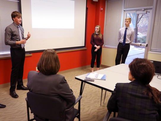 Kolton Ostermann (left), Patrick Cullen, Kate Majeskie