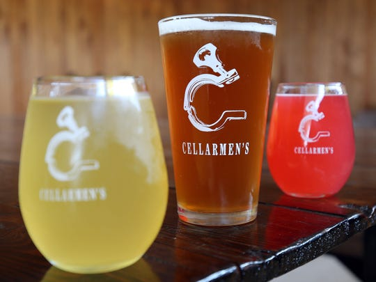 Cellarmen's is Hazel Park's first meadery, cidery, brewery set to open at 24310 John R in a former lumber store Saturday, Oct. 17, 2015 from noon to midnight. Some of the drinks they are offering in their tasting room are: a dry cider, left, a beer called Trasher, and a raspberry meade.