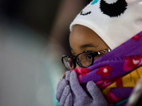 Jasmine Richardson, 8, looks on during the Montgomery