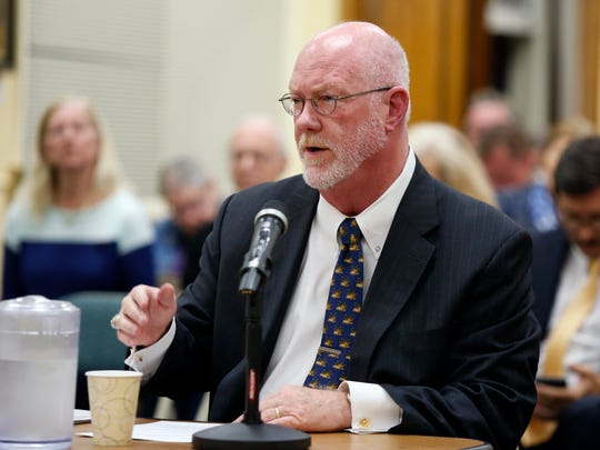 Edward Kelly, Executive Director, Maritime Association, Port of New York and New Jersey, talks to the panel during a public hearing at Village Hall in Croton-on-Hudson on Wednesday, October 19, 2016.