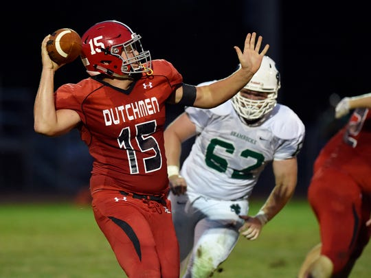 Annville-Cleona's Noah Myers throws against Trinity in the first half of a high school football game Friday, Aug. 25, 2017, at Trinity High School.