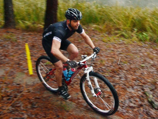 ANI Wild Azalea Trail challenge Derrick Bordelon of Youngsville heads for the finish line of the Wild Azalea Trail Challenge held Saturday, Jan. 3, 2015 in the Kisatchie National Forest. Bordelon competed in the 27-mile bike ride. The challenge included a
