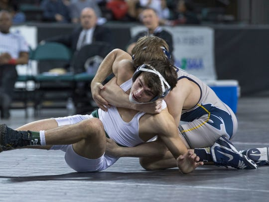 Delbarton's  Patrick Glory vs. Pope John XXIII's Joseph Aragona in 120 lbs Final. NJSIAA  Wrestling Finals in Atlantic City, NJ on March 5, 2017