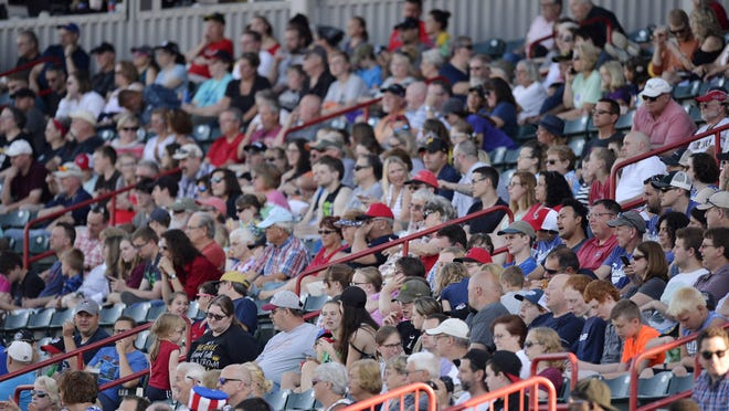 Erie SeaWolves fans watch an Eastern League baseball game against the Binghamton Rumble Ponies at UPMC Park in Erie on July 3, 2019. The SeaWolves set a park attendance record with a crowd of 7,045 at the game.