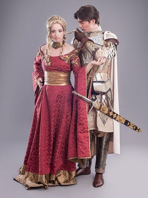 Couple dressed in Medieval attire
