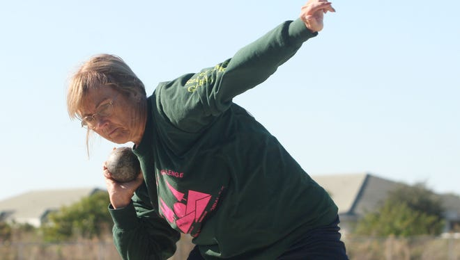 Neva Weiskopf, 68, a retired Alva Middle School teacher, tore the meniscus in her right knee after finishing the 100-yard dash in Des Moines at the Iowa Senior Games.