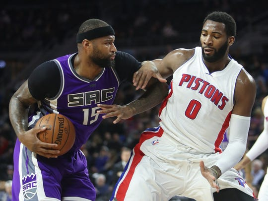 Pistons center Andre Drummond defends Kings center DeMarcus Cousins during the second quarter Monday, Jan. 23, 2017 at the Palace.