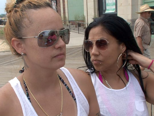 Jessica Acevedo (left) and her girlfriend Diane Ortiz, Perth Amboy, comment on the recent police involved shootings during an interview in Asbury Park Thursday, July 7, 2016.