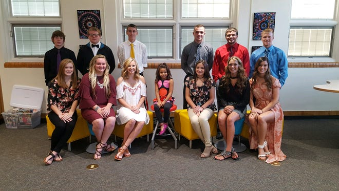 The 2017 Lucas High School Homecoming king and queen will be announced at the Sept. 29 football game. From left, front, are Jordan Thomas, freshman; Mahaylie Harriger, sophomore; Frankie Depue, junior; Sophia Deak; Jasmine Lopez, senior; Lexi Barnett, senior; and Kaleigh Kerr, senior; and back, Noah Ulery, freshman; Blake Coffman, sophomore; Gavin Shindeldecker, junior; Noah Krupa, senior; Brian Sauder, senior; and Jackson Hauger, senior. Not pictured is Jagger Evans.