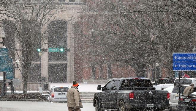 Snow falling in downtown Murfreesboro Wednesday.