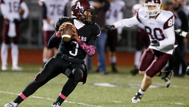 Appoquinimink QB Kenyon Yellowdy (3), shown here against Concord's Tyler Whitlock, will lead the Jaguars against A.I. du Pont on Friday.