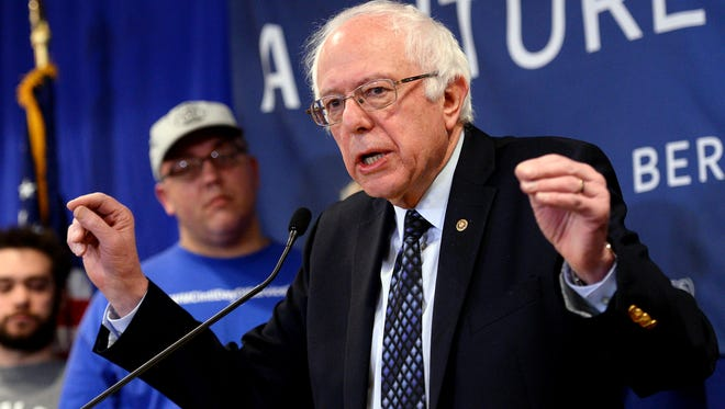 """Sen. Bernie Sanders, a candidate for the Democratic nomination for the president, speaks Thursday, March 3, 2016, on trade agreements that he called """"disastrous,"""" at the Hyatt Place hotel in Lansing Township. Sanders, who made his second speech in Mid-Michigan in as many days, is contending with former Secretary of State Hillary Clinton for the nomination. Michigan's primary is Tuesday."""