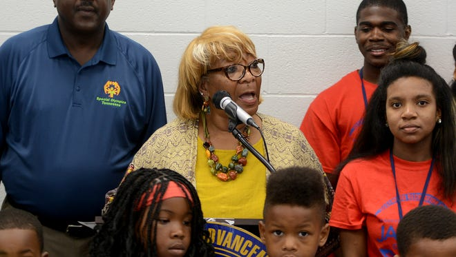 Gloria Sweet-Love, president of the Tennessee State Conference NAACP, announced the Reading Round-Up summer pilot program Tuesday at Westwood Recreation Center.