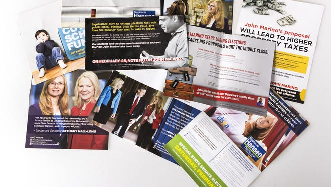 Campaign mailers from Stephanie Hansen and allied PACs sent to voters in Delaware's 10th Senate District.