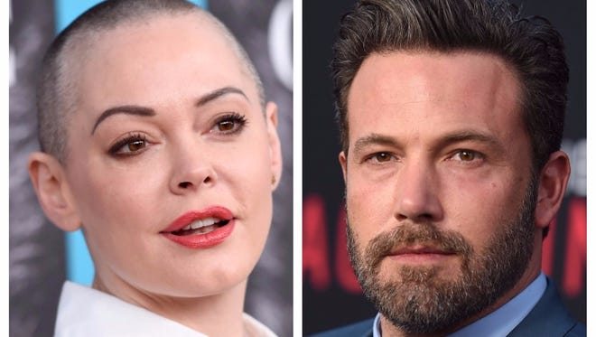 Rose McGowan (left) and Ben Affleck (right) aren't agreeing on Harvey Weinstein.