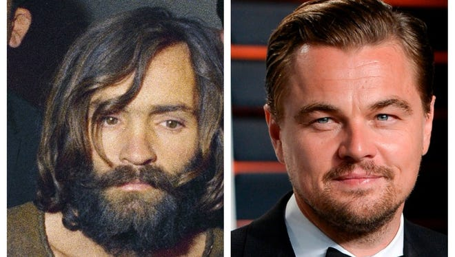 Charles Manson (left) and Leonardo DiCaprio (right)