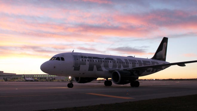 This photo shows inaugural Frontier Airlines service from Trenton, New Jersey to Fort Myers in 2013.