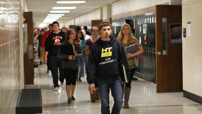 In this 2014 photo, students relocate to different classrooms during a period change at Ripon High School. The Ripon Area School District recently obtained a $900,000 state loan to supplement funding for the remodeling and expansion of Ripon High School.