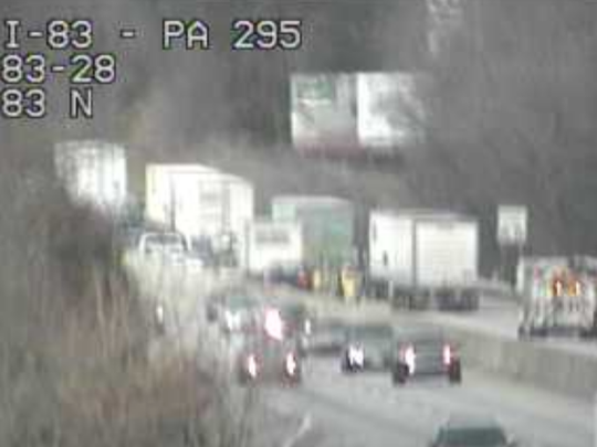 A traffic camera shows the traffic moving northbound on I-83 near the Strinestown exit.