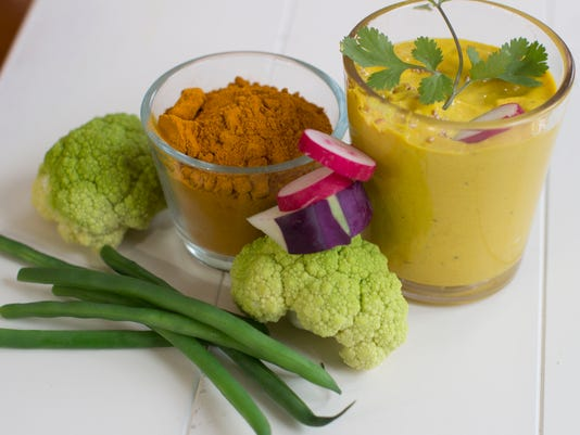 Golden turmeric dip with crudite