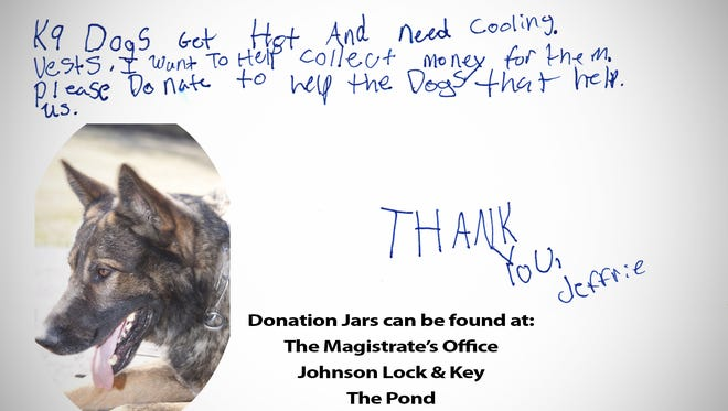 11-year-old Jeffrie Prendergast started the K00L K9 project.