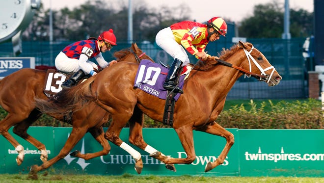 Isabella Sings, under jockey Paco Lopez, wired Churchill Downs' Grade II, $200,000 Mrs. Revere Stakes on Saturday.