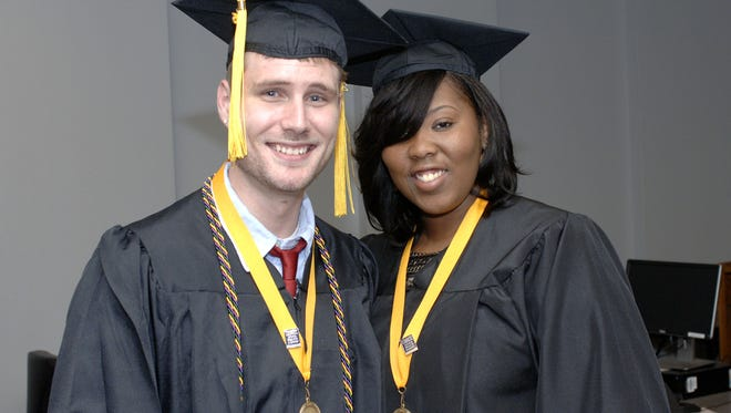 Allied Health graduates Timothy Johnson-CLS and Shaneque Armstrong-CLS.