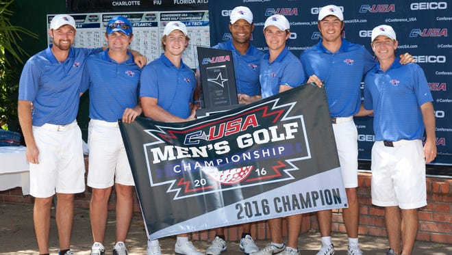 Members of Louisiana Tech's golf team pose for a photo last month at the Conference USA golf tournament in Arkansas.