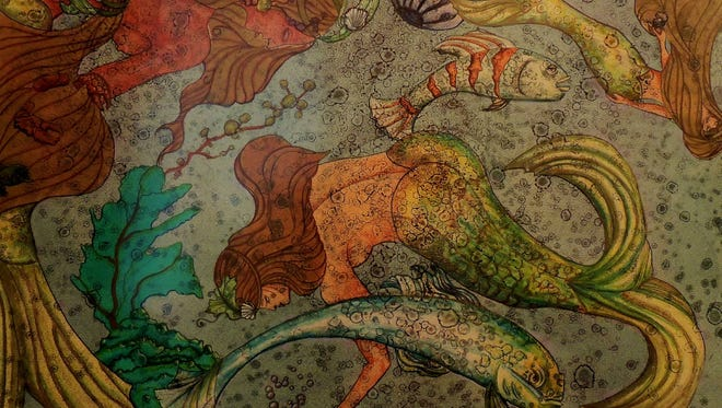 """This print, """"The Three Graces,"""" is by artist Susan Steinhafel. She is one of three artists in residence at the Cedarburg Cultural Center in October."""