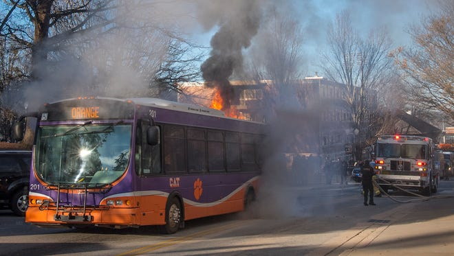 A Clemson Area Transit bus caught fire on the morning of Friday, Jan. 19, 2018 on Fort Hill Street at Clemson University.