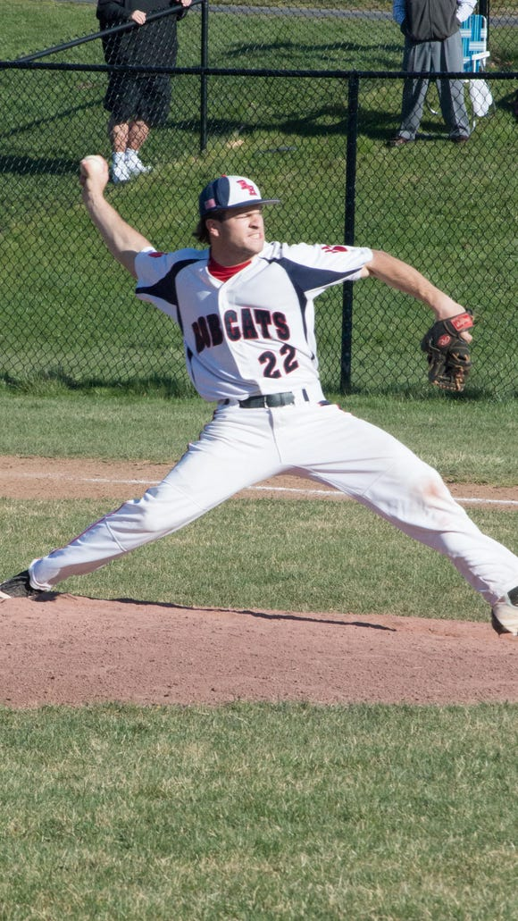 Byram Hills pitcher Frankie Vesuvio delivers in the first inning of a home game against Harrison on Thursday.