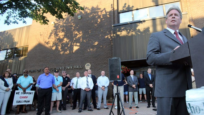 Clarkstown Police Chief Michael Sullivan speaks during a  rally in support of him in New City on Tuesday, July 26, 2016