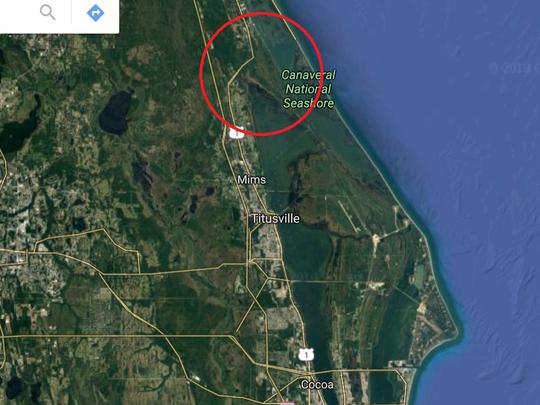 Where Merritt Island technically meets the mainland near Oak Hill.