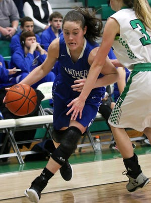 Southeastern's Ella Skeens drives past a defender earlier this season against Huntington. Skeens was named the SVC's Player of the Year for the third consecutive season Tuesday, becoming just the second player in the conference's history to do so.