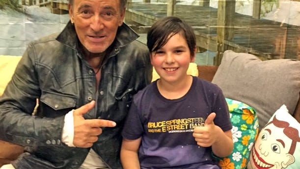 Bruce Springsteen writes a tardy note for 9-year old  Xabi Glovsky. Tillie pillow not included.