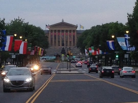 The Philadelphia Museum of Art is at one end of the Benjamin Franklin Parkway in Philadelphia. The Franklin Institute and the Academy of Natural Sciences are also on the Parkway.