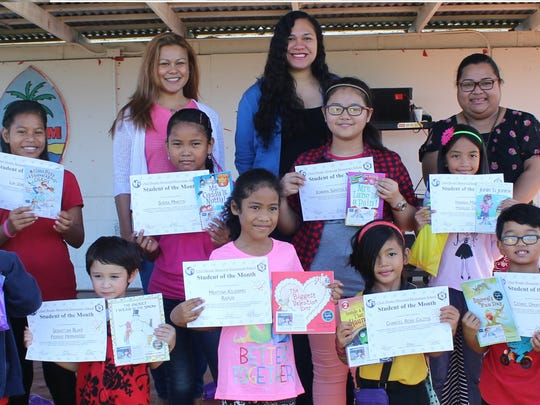 In support of the Positive Behavior Interventions and Supports program, Sylvan donated over 1,000 books to Guam's public elementary schools to promote literacy during January and February 2017. In recognition of their academic and behavioral achievements, SylvanÕs Center Director, Crystal Nelson, donated 15 books to Chief Brodie Elementary School students of the month in K - 5th grade on Feb. 10.  Pictured back row left: Dr. Daisy Singenes (3rd Grade Teacher), Crystal Nelson (Sylvan Learning Center Director), Darlene Castro (Principal). Middle row from left: Hannah Daga, Joanna Lusung, Shera Martin, and Lia Jean Setik. Front Row from left: Sebastian Hernandez, Mertina Rapun, Chantel Calitis Cedric Adanzo, Lia Jaden Pasion.