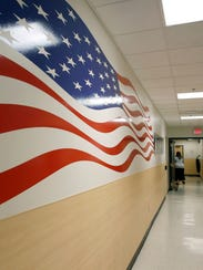 A hallway at the Veterans Crisis Line facility in Canandaigua,