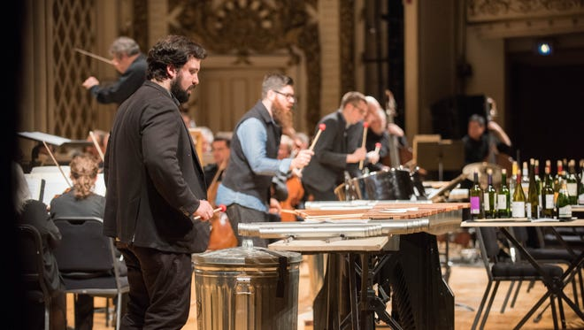 So Percussion joined Louis Langrée and the Cincinnati Symphony in a new piece calling for marimbas and garbage cans by David Lang at the MusicNOW Festival Saturday.