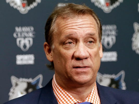 FILE - In this June 25, 2015, file photo, Minnesota Timberwolves president and coach Flip Saunders addresses members of the media during an NBA basketball news conference in Minneapolis. The Timberwolves wouldn't be in first place in the Northwest Division, tracking toward their first appearance in the playoffs in 14 years, without Flip Saunders. The Wolves will honor the beloved former head coach and front office boss on Thursday, Feb.15, 2018, when they host the Los Angeles Lakers.  (AP Photo/Jim Mone, File)