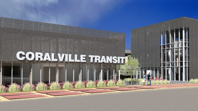 An architect's rendering of the planned Coralville Intermodal Facility, courtesy Neumann Monson Architects.