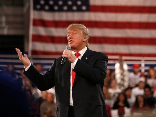 Republican presidential candidate Donald Trump spoke