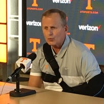 Tennessee basketball coach Rick Barnes talks to the media Wednesday, Oct. 26, 2016.