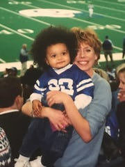 Kim Norvell with her son Jaden when Jay coached for the Indianapolis Colts.