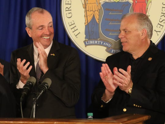 Governor Phil Murphy and Senate President Stephen Sweeney at the announcement of a budget deal.