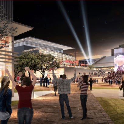 An artist rendering of the finished Arena District,